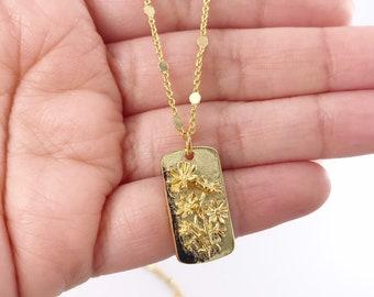 Green Flower Medallion Necklace Vintage Medallion Flower Medallion Vintage Necklace