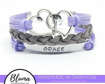 Bracelet for Girls   Custom Name Bracelet   Kids Charm Bracelet   Bracelet with Names   Silver Heart Bracelet   Little Girl Bracelet