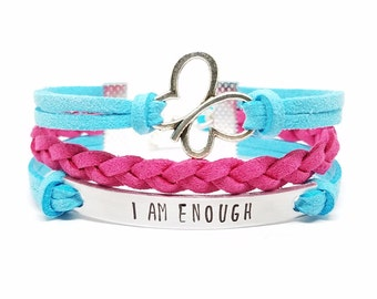 Affirmation Jewelry | I am Enough Bracelet | Butterfly Charm Bracelet | Inspirational Girls Bracelet | Kids Jewelry | Empowerment Bracelet