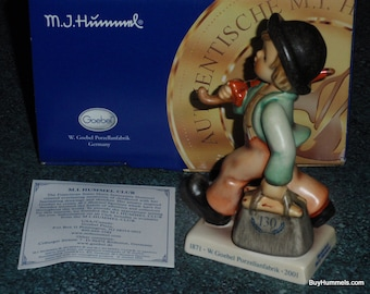 "SPECIAL 130th Anniversary ""Merry Wanderer"" Goebel Hummel Figurine #11 2/0 TMK8 Mint Condition With Original Box Collectible Gift!"