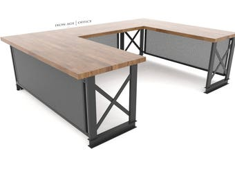 Executive Carruca Desk, U-Shaped