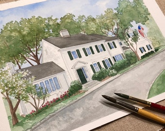 Personalized Watercolor painting of Home, House portrait, Custom Portrait, Original painting of your house, Housewarming/Realtor gift.