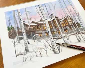 Watercolor House Portrait from Photo, Personalized House Portrait, Custom Watercolor Painting of houses, Drawings of Home, House Sketch.