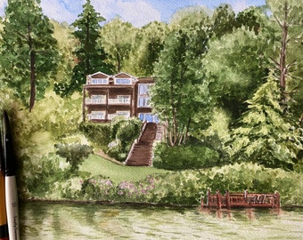 Watercolor House Portrait, Personalized Watercolor Painting of home, Drawing of your house, Housewarming Gift or Realtor Gift.