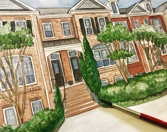 Custom House Portrait, Personalized Watercolor, Painting from your Photo, Drawing of your house, Housewarming Gift or Realtor Gift
