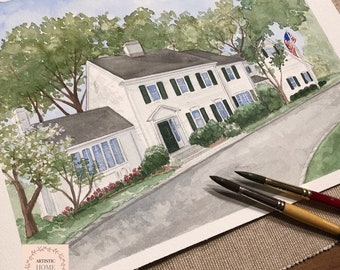 Custom Home Watercolor Painting of home, House portrait from Photo, First Home Gift, Personalized Custom House Drawings, Hand painted gift.