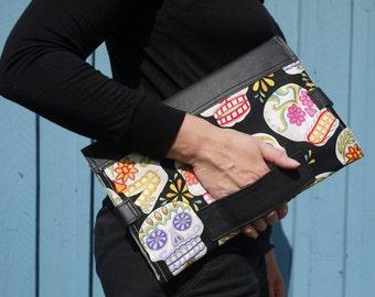 Black leather diaper changing bag, baby changing mat, baby changing bag, black clutch bag, diaper purse, nappy bag, dia de muertos design