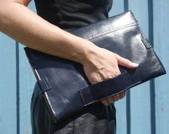 Classic midnight blue leather diaper clutch, baby changing mat, diaper purse, folds into pink changing mat, perfect baby shower gift