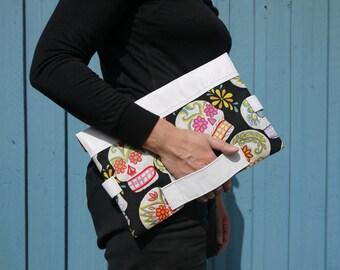 Large clutch bag, dia de muertos printed cotton, white leather purse, envelope clutch bag, woman's purse, evening bag, oversized clutch