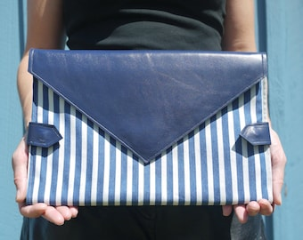Blue & white striped denim and royal blue leather diaper clutch, folds into pink baby changing mat, diaper purse, nappy bag, handmade in LA