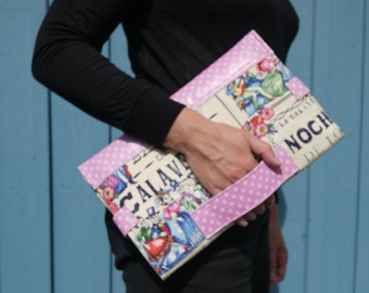 Dia de muertos, diaper clutch bag, pink and white leather, baby changing mat, baby changing bag, diaper purse, nappy bag, baby shower gift