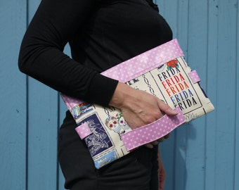 Large clutch bag, calaveras printed cotton, pink white spotted leather, envelope clutch bag, woman's purse, evening bag, oversized clutch