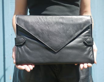 Classic black leather diaper clutch, baby changing mat, diaper purse, nappy bag, folds into pink changing mat, baby shower gift