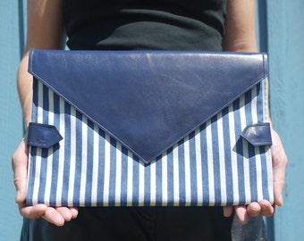 Blue & white striped denim and royal blue leather diaper clutch, folds into baby blue changing mat, diaper purse, nappy bag, handmade in LA