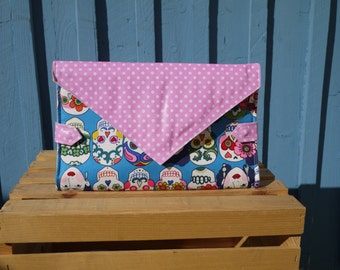 Diaper clutch bag, pink and white spotted leather, baby changing mat, dia de muertos, baby change purse, nappy bag, perfect baby shower gift