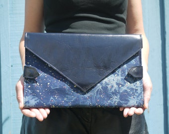 Paint splattered denim with midnight blue leather diaper clutch, folds into baby blue changing mat, diaper purse, nappy bag, handmade in LA
