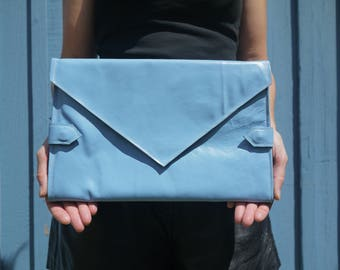 Baby blue leather diaper clutch, baby changing mat, diaper purse, folds into baby blue changing mat, perfect baby shower gift, leather bag