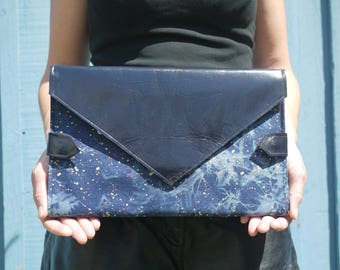 Paint splattered denim and midnight blue leather diaper clutch, folds into bright pink changing mat, diaper purse, nappy bag, handmade in LA