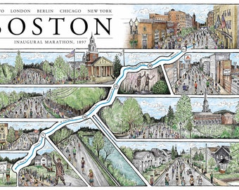 Boston: The Marathon Map (Free shipping!)