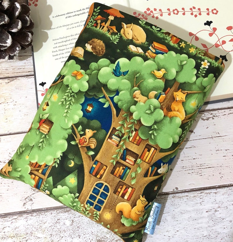 Forest Reading Nook Book Sleeve Woodland Animals Book Buddy image 0