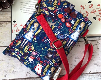 Carry Me Alice Book Buddy®, Cross Body Book Sleeve, Book Gift for Her, Wonderland Crossbody Bookbag, Padded Book Pouch, Bookish Accessories
