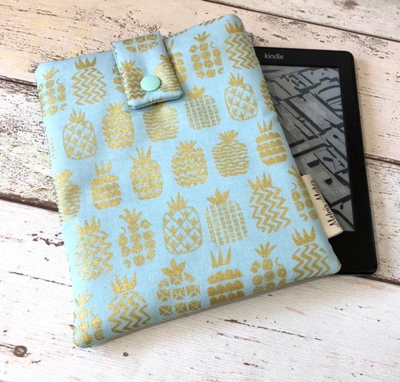 Metallic Pineapple Kindle Case Unique eReader Cover Gold image 0