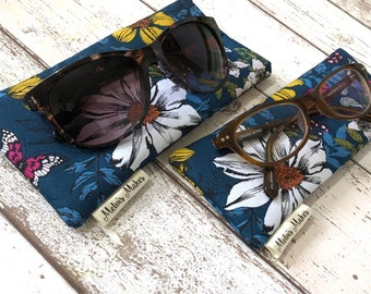 Blue Flower Glasses Case, Slim or Wide Soft Specs Pouch, Bold Sunglasses Case, Handbag Accessories, Gift for Her, Padded Reading Glasses Bag