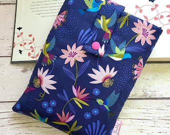 Hummingbird Book Buddy®, Custom Size Book Sleeve, Book Gift for Her, Blue Birds Book Bag, Floral Padded Book Pouch,  Bookworm Birthday Gifts