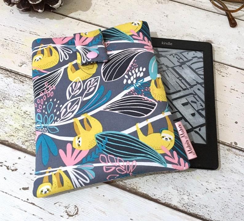 Sloth Kindle Case Rainforest eReader Sleeve Grey Pastel image 0