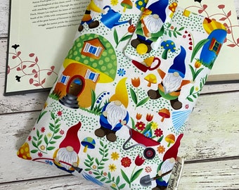 Gnome Book Buddy, Gardening Book Sleeve, Tomte Book Pouch, Summer Reader Gift, Bookish Accessories, Nisse Book Bag