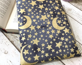 Glitter Moon and Stars Book Cover, Protective Book Buddy, Astrology Book Gift, Graphite Book Sleeve, Padded Book Bag, Gold Book Lover Gift