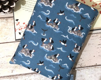 Puffin Rocks Book Buddy, Paperback Hardback Book Cover, Bookish Reader Gift, Bookstagram Accessories, Padded Book Pouch, Puffins Book Bag