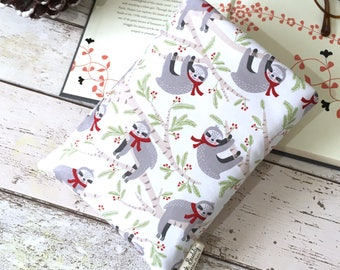 Sloth Book Buddy, Padded Paperback Pouch, Christmas Reader Gift, Small Book Bag, Quilted Book Sleeve, Cushioned Book Cover