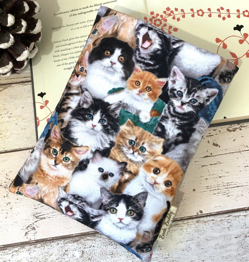 Cats Book Buddy Padded Book Sleeve Cat Lover Book Gift image 0