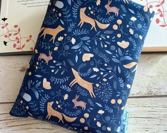 Wild at Heart Book Buddy, Fox Deer Book Cover, Book Lover Gift, Woodland Book Sleeve, Paperback Pouch, Nature Book Cover, Bookworm Bag
