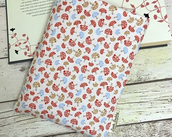 Toadstool Book Buddy, Paperback Hardback Book Sleeve, Woodland Reader Gift, Bookish Accessory, Autumn Nature Bag, Forest Polka Pouch