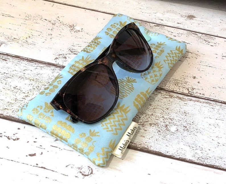 Metallic Pineapple Glasses Sleeve Unique Sunglasses Case image 0