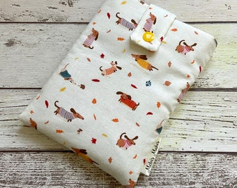 Sweater Weather Kindle Case, Sausage Dog eReader Sleeve, Autumn Travel Oasis, Voyage, Fire HD, Paperwhite Pouch. Padded Tablet Storage