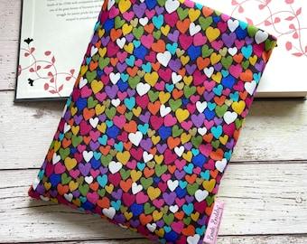 Rainbow Hearts Book Buddy, Gold Metallic Book Sleeve, Romance Novel Book Bag, Love Story Reader Gift, Bookish Accessories