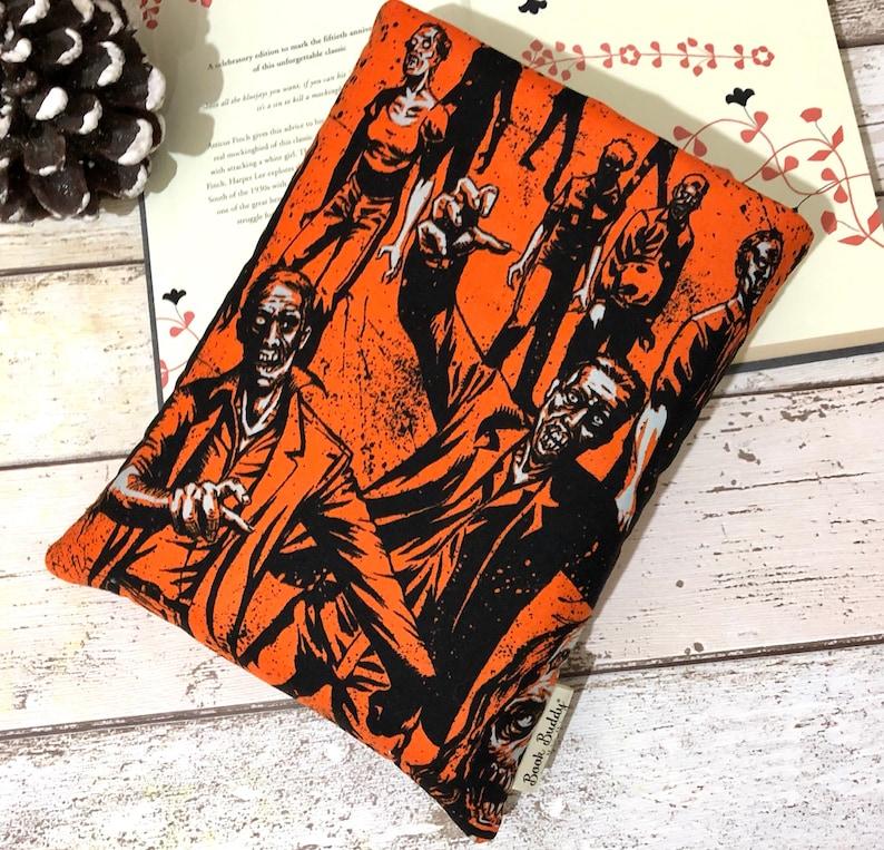 Orange Zombie Book Buddy Halloween Book Pouch Small Medium image 0
