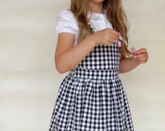 Bella Pinafore Dress in Black Gingham