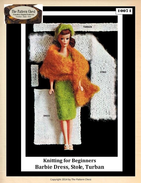 Barbie que hace punto patrones vaina vestido robó turbante | Etsy