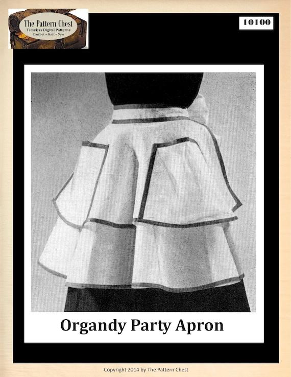 Vintage 50s partido delantal medio círculo patrón para coser | Etsy