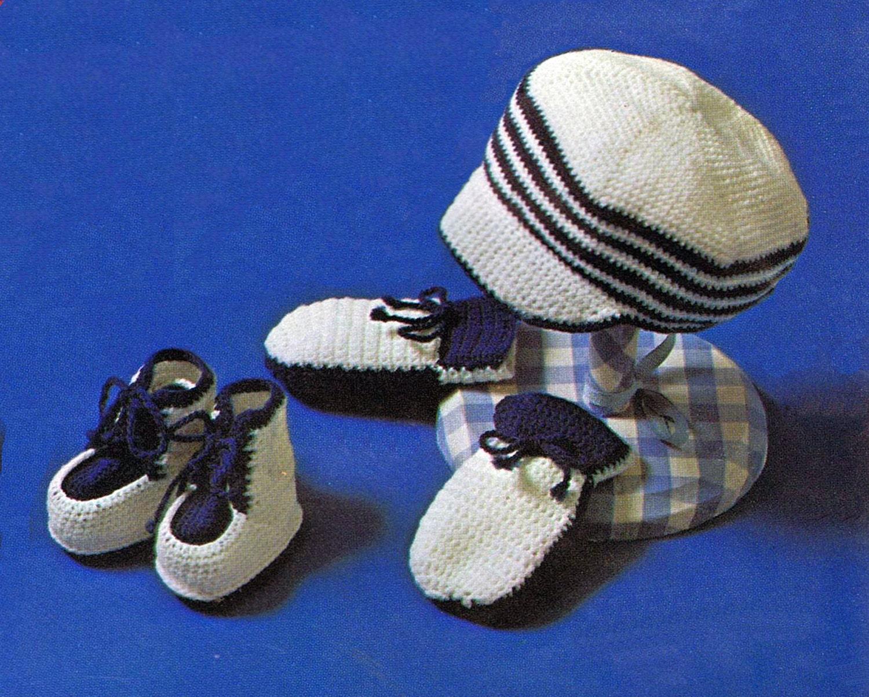 Vintage Crochet patrones náutica bebé tapa patucos manopla   Etsy