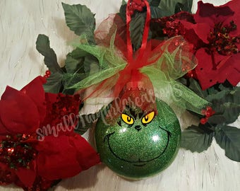 grinch christmas ornament christmas ornament glitter ornament tree decor christmas decor grinch decor holiday decor grinch ornament