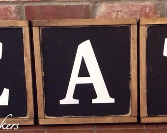 Rustic EAT wood signs/letters. Kitchen decor