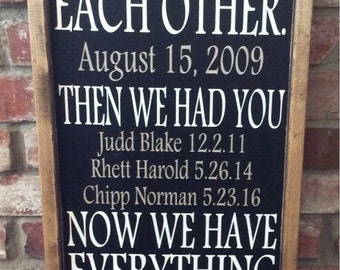 First we had each other. Then we had you. Now we have everything. Personalized family sign. Our story. Anniversary gift, Mother's Day