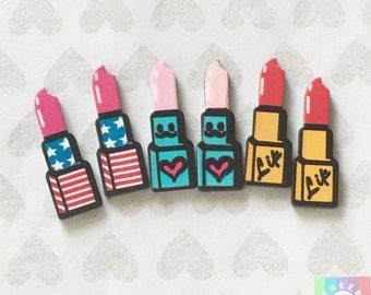 6 pcs Glitter PINK Rainbow LIPSTICK Girly Flatback Resin Decoden Kawaii Cabochons lipstick cabochons 354