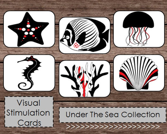 Black white red high contrast baby flash cards montessori