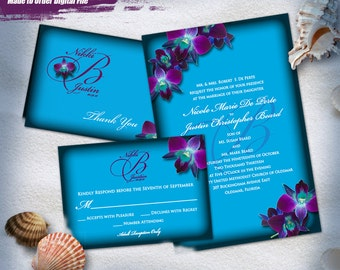 Response and Thank You Printable Invitation Printaable Invitation Suite K/&D Purple Orchid Teal Border Invitation 3pc Digital Set